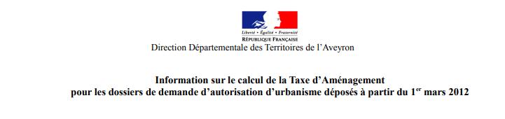 Taxe d'aménagement Rivière-sur-Tarn